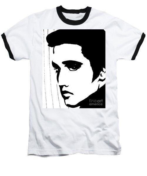 Elvis In Black And White Baseball T-Shirt