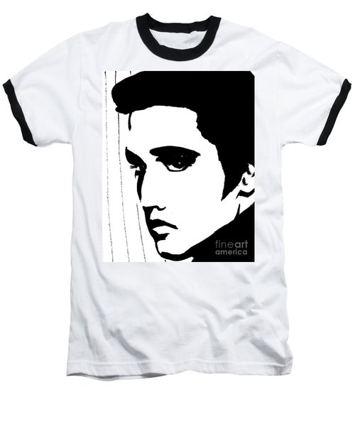 Elvis In Black And White Baseball T-Shirt