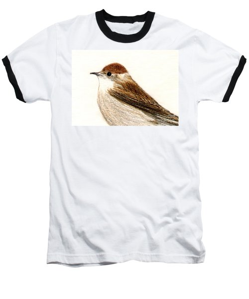 Baseball T-Shirt featuring the drawing Female Blackcap  by Barbara Moignard