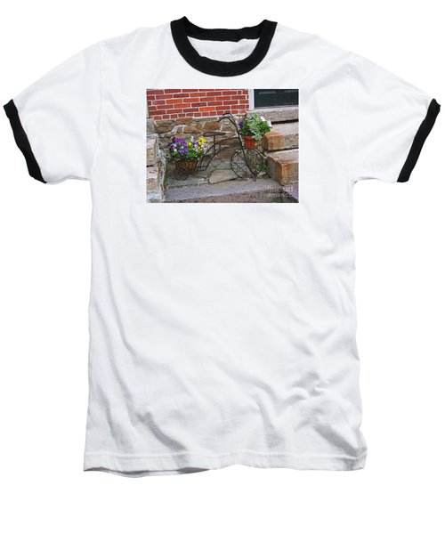 Baseball T-Shirt featuring the photograph Flower Bicycle Basket by Val Miller