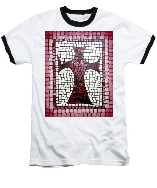 Baseball T-Shirt featuring the painting Heart Cross by Cynthia Amaral