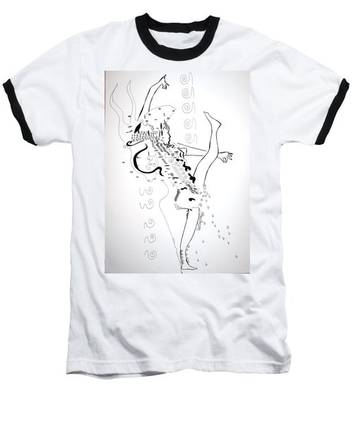 Baseball T-Shirt featuring the drawing Zulu Dance - South Africa by Gloria Ssali