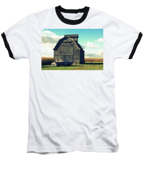 1950 Cadillac Barn Cornfield Baseball T-Shirt by Lyle Hatch