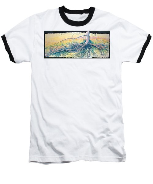 Baseball T-Shirt featuring the painting Rooted In Time by Carolyn Rosenberger