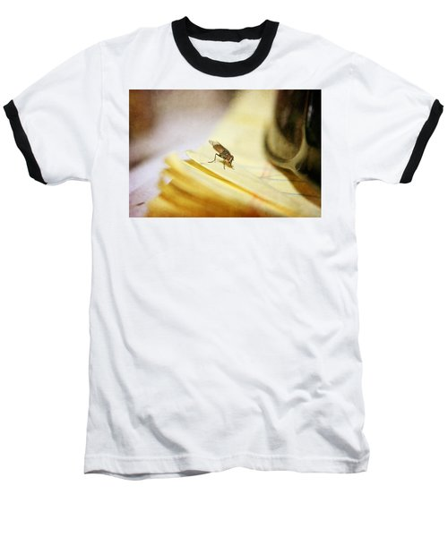 Baseball T-Shirt featuring the photograph A Red Eyes Fly On The Yellow Paper by Ester  Rogers