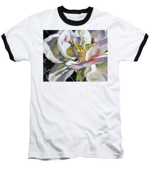 Baseball T-Shirt featuring the painting A Rose By Any Other Name by Rae Andrews