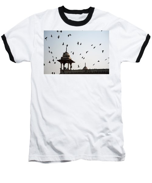 A Whole Flock Of Pigeons On The Top Of The Ramparts Of The Red Fort In New Delhi Baseball T-Shirt by Ashish Agarwal