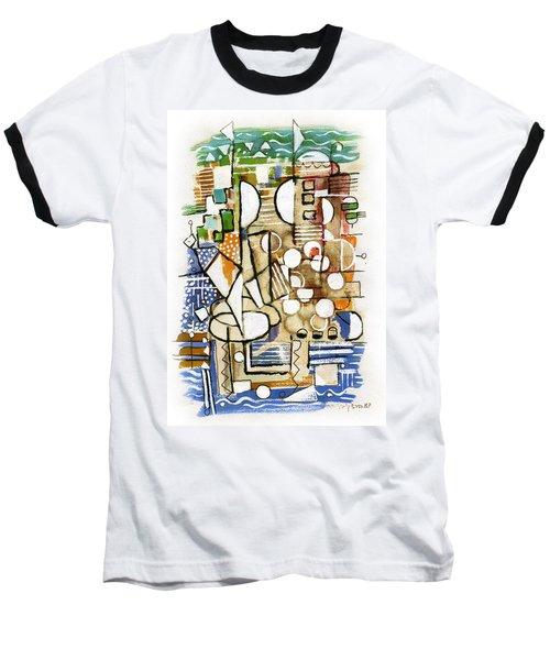 Akko Port Landscape Abstract Blue Green Ocean Water Sun Sky Brown Yellow Colorful City Beach Light Baseball T-Shirt