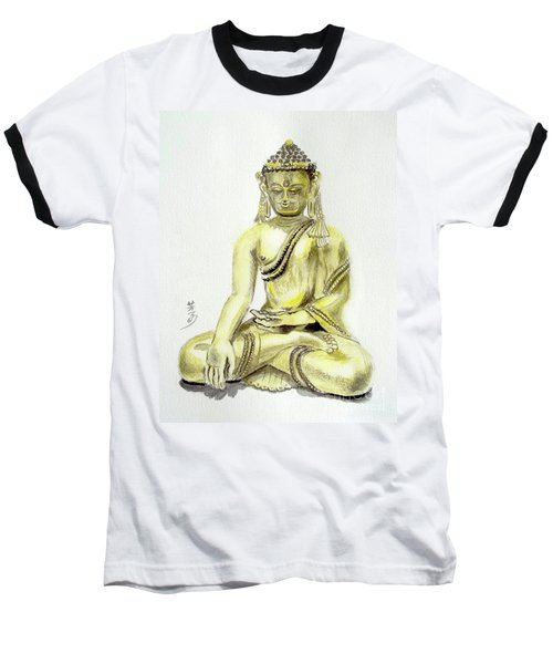 Baseball T-Shirt featuring the painting An Orient Statue At Toledo Art Museum - Ohio-3 by Yoshiko Mishina