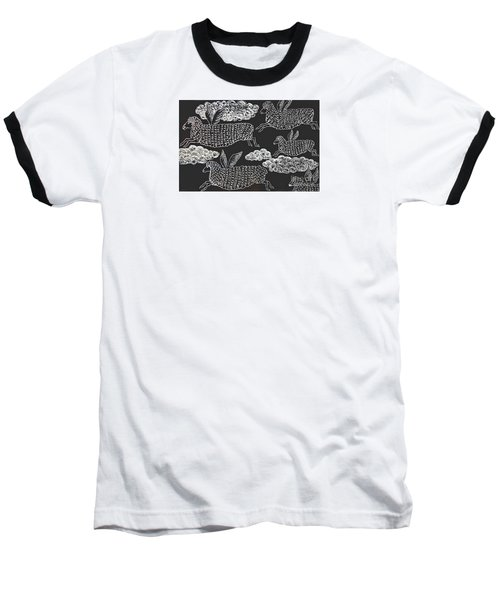 And Sheep Can Fly Baseball T-Shirt by Nareeta Martin