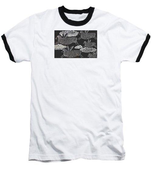 Baseball T-Shirt featuring the drawing And Sheep Can Fly by Nareeta Martin