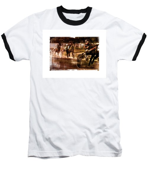 Baseball T-Shirt featuring the photograph and the winner is - A vintage processed Menorca trotting race by Pedro Cardona