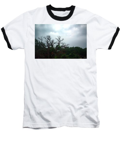 Baseball T-Shirt featuring the photograph Approaching Storm Viewed Through My Rain Streaked Window by Lon Casler Bixby