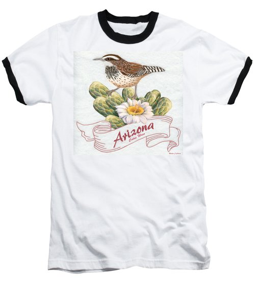 Arizona State Bird Cactus Wren  Baseball T-Shirt