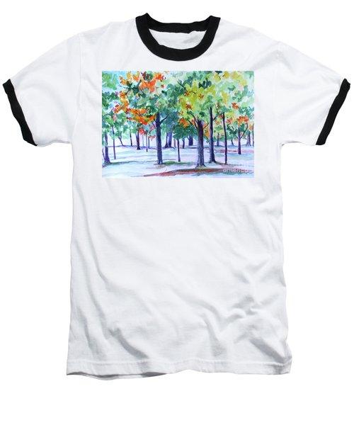 Autumn In The Park Baseball T-Shirt by Jan Bennicoff