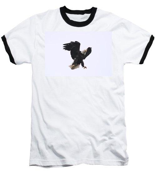 Bald Eagle Tallons Open Baseball T-Shirt by Kym Backland