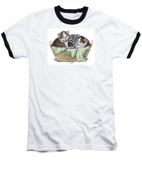 Basket Of Kittens - Cats Art Print Color Tinted Baseball T-Shirt