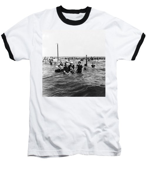 Bathing In The Gulf Of Mexico - Galveston Texas  C 1914 Baseball T-Shirt