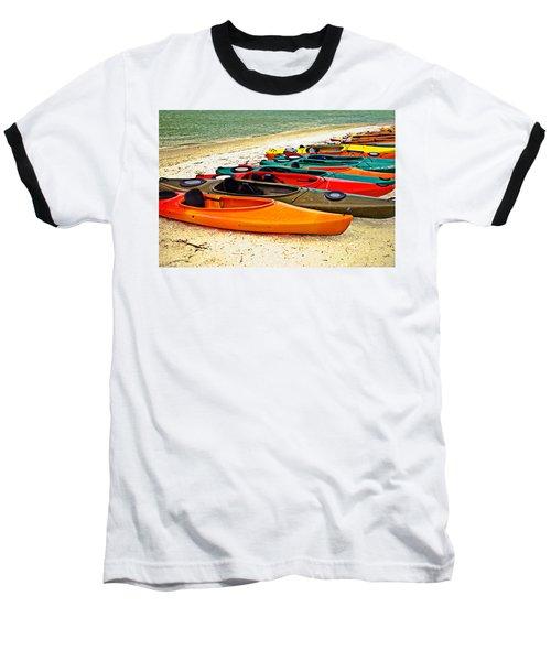 Baseball T-Shirt featuring the photograph Beach Kayaks by Susan Leggett