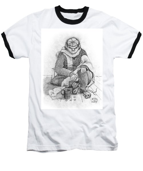 Beggar 2  In The  Winter Street Sitting On Floor Wearing Worn Out Cloths Baseball T-Shirt