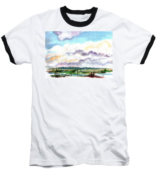 Baseball T-Shirt featuring the painting Big Clouds by Clara Sue Beym