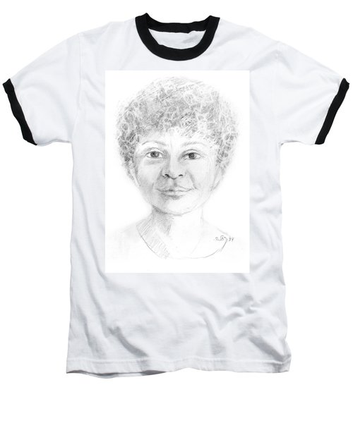Boy Or Girl Woman Or Man African Or Asian Has Curly Hair Big Lips And A Big Head Baseball T-Shirt by Rachel Hershkovitz