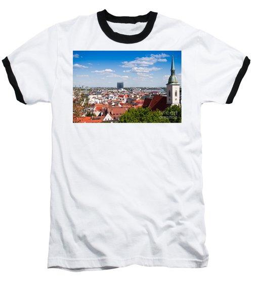 Baseball T-Shirt featuring the photograph Bratislava Roofs by Les Palenik