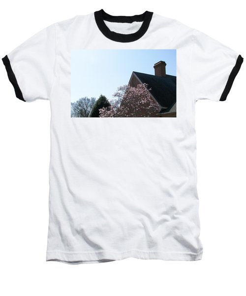 Baseball T-Shirt featuring the photograph Brick And Blossom by Pamela Hyde Wilson