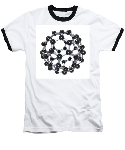Buckminsterfullerene Or Buckyball C60 18 Baseball T-Shirt by Russell Kightley