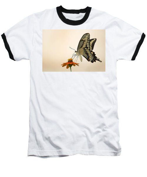 Butterfly And Flower Baseball T-Shirt