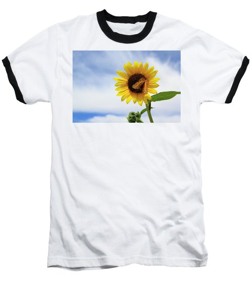 Butterfly On A Sunflower Baseball T-Shirt