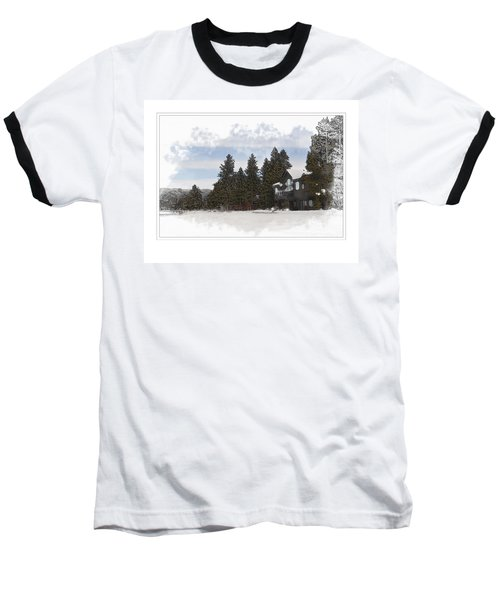 Cabin In Snow With Mountains In Background Baseball T-Shirt