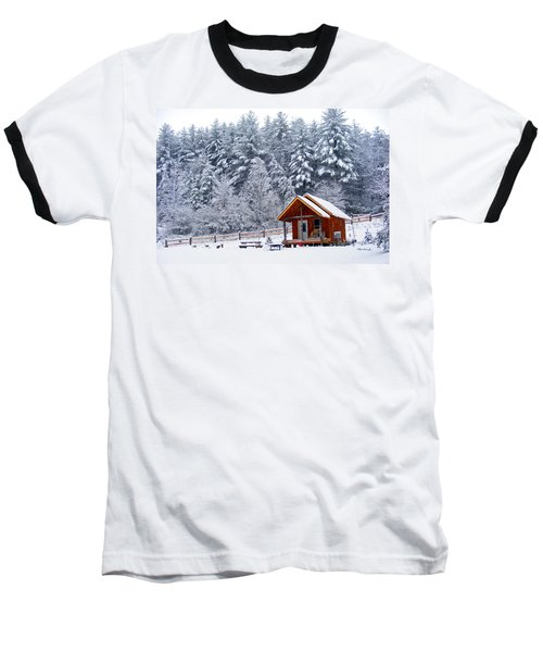 Cabin In The Snow Baseball T-Shirt