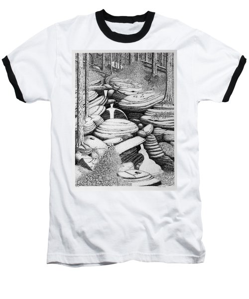 Baseball T-Shirt featuring the drawing Cascade In Boulders by Daniel Reed