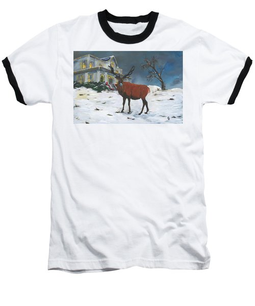 Christmas Elk Baseball T-Shirt