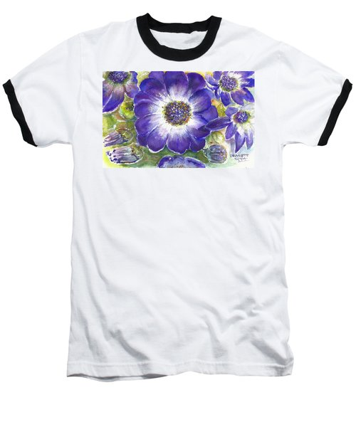 Baseball T-Shirt featuring the painting Cineraria Of South Africa  by Bernadette Krupa