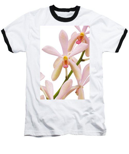 Closeup Pink Orchid Baseball T-Shirt by Atiketta Sangasaeng