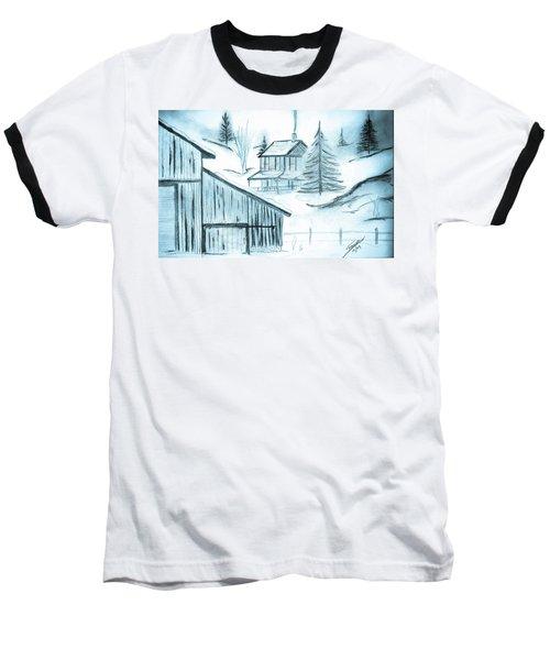 Baseball T-Shirt featuring the drawing Colorado Farm by Shannon Harrington