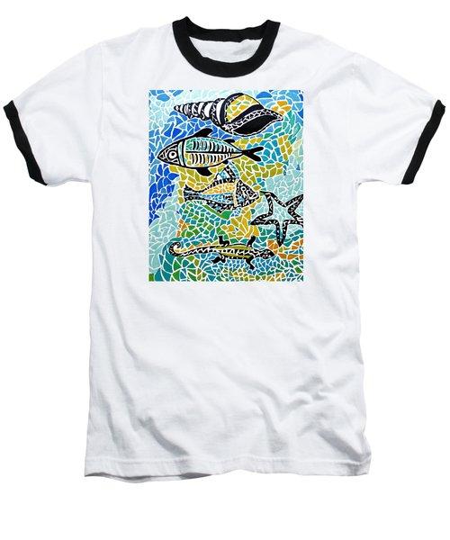 Comotion In The Ocean Baseball T-Shirt by Sandra Lira
