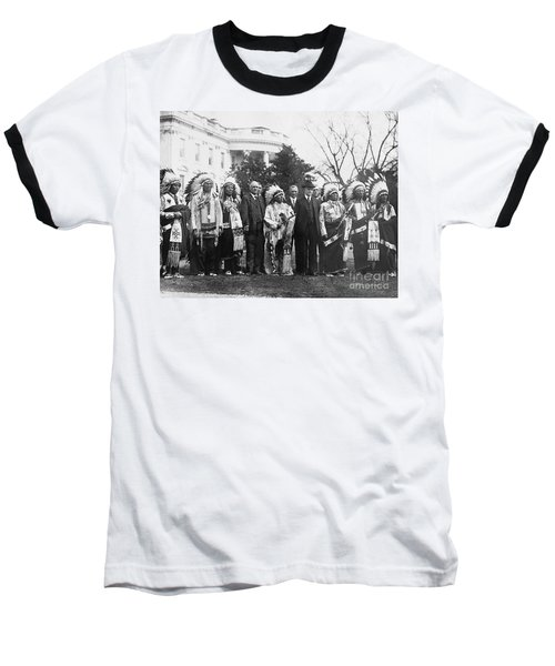 Coolidge With Native Americans Baseball T-Shirt by Photo Researchers