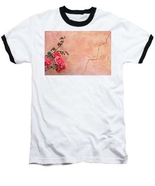 Cracked Wall And Rose Baseball T-Shirt
