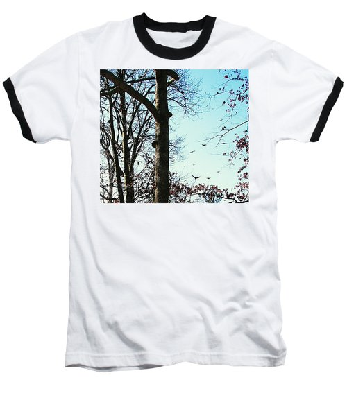 Baseball T-Shirt featuring the photograph Crows In For Landing by Pamela Hyde Wilson