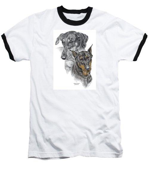 Dober-friends - Doberman Pinscher Portrait Color Tinted Baseball T-Shirt