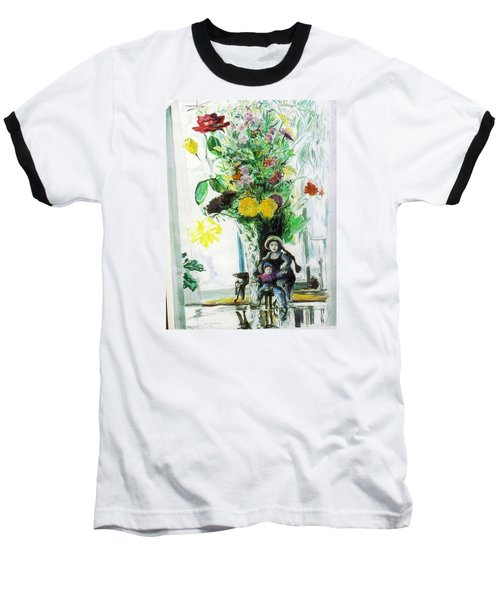 Dolls And Flowers Baseball T-Shirt