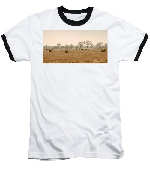 Baseball T-Shirt featuring the photograph Earlying Morning Hay Bails by James Steele
