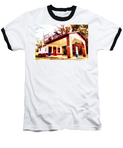 Baseball T-Shirt featuring the painting Esso Filling Station by Lynne Jenkins