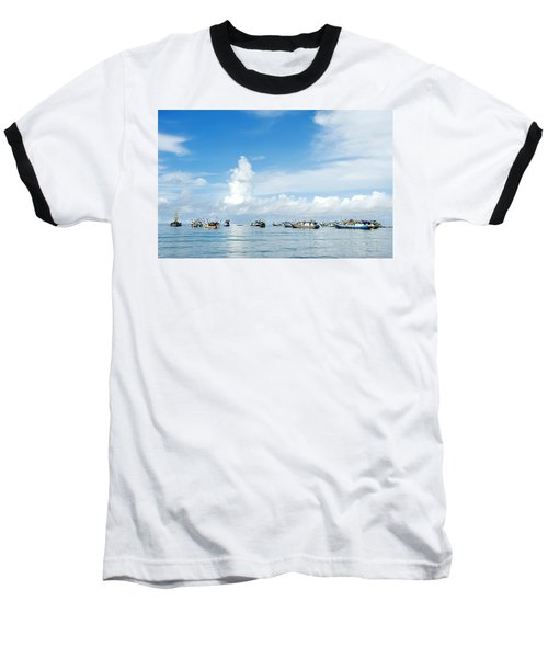 Fishing Boat Baseball T-Shirt by Yew Kwang