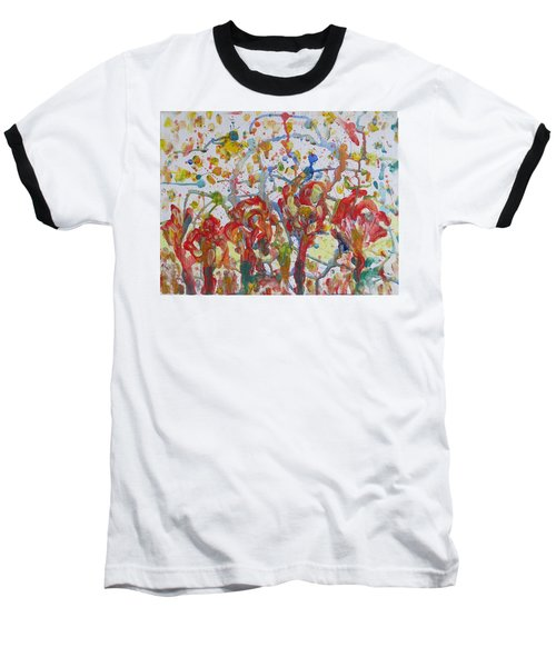 Baseball T-Shirt featuring the painting Floral Feel by Sonali Gangane