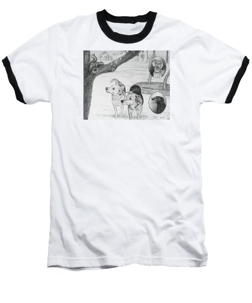 Four Dogs And A Squirrel Baseball T-Shirt by Mike Ivey