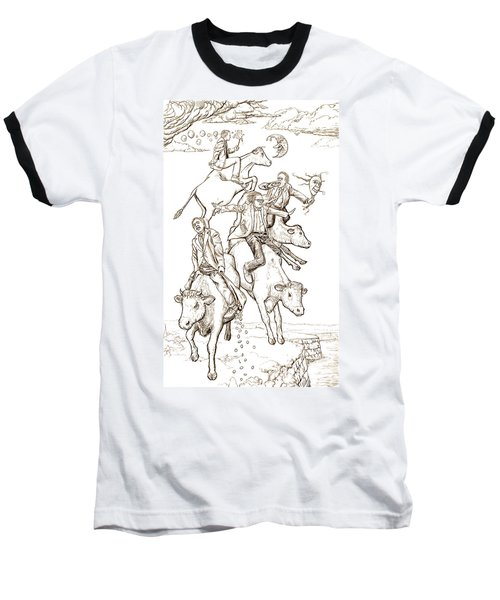 Baseball T-Shirt featuring the digital art Four Mad Cowboys Of The Apocalypse by Russell Kightley